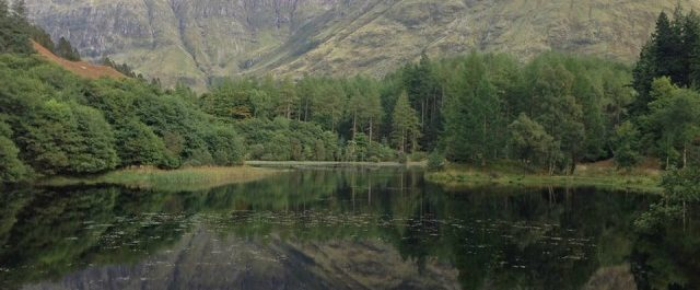 GLencoe mountains reflected in water